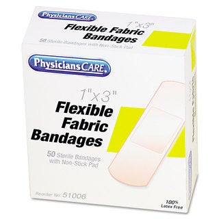 Physicians Care First Aid 1x3-inch Fabric Bandages (Box of 50)