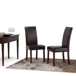 WyndenHall Normandy Faux Leather and Wood Parson Dining Chairs (Set of 2)