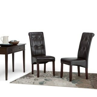 WyndenHall Essex Faux Leather Tufted Parson Chairs (Set of 2)