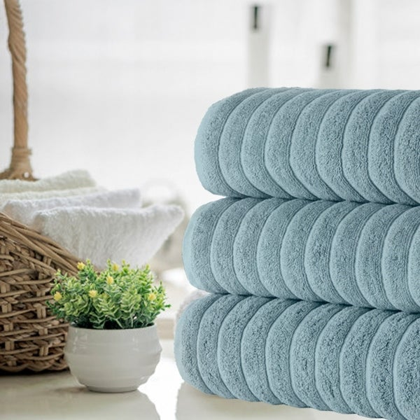Classic Turkish Towel Cotton Ribbed Bath Sheet Towel Set of 3
