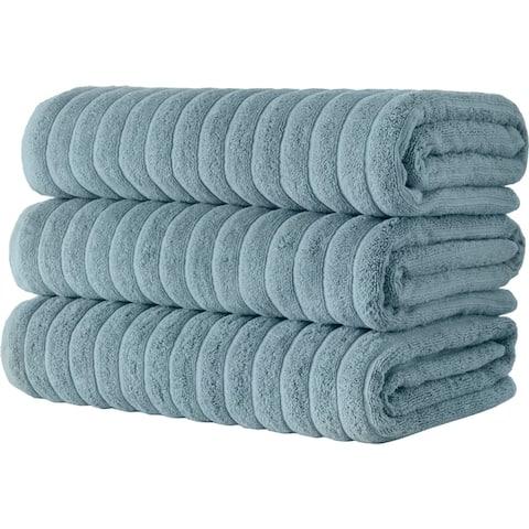 Classic Turkish Towel Cotton Ribbed Bath Sheet Towel Set of 3