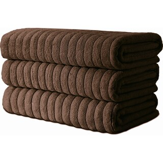 Classic Turkish Towel Cotton Ribbed Bath Sheet Towel Set of 3 - 40X67