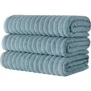 Classic Turkish Towel Cotton Ribbed Bath Sheet Towel Set of 3 - 40X67