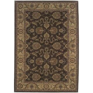 Indoor Brown and Beige Traditional Oriental Area Rug (9'10 x 12'9)
