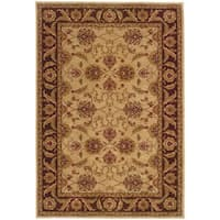Indoor Beige and Brown Traditional Oriental Area Rug - 9'10 x 12'9