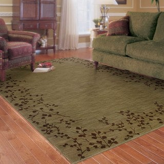 Indoor Green and Brown Botanical Area Rug (9'10 x 12'9)
