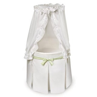 Empress Round Baby Bassinet White Bedding with 3 Gingham Belts