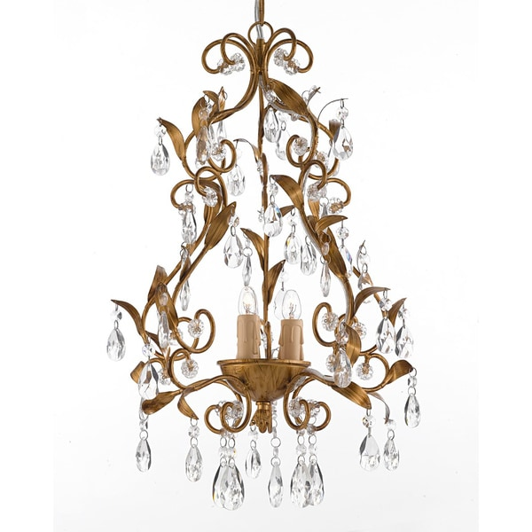 Gallery Goldtone 3-light Crystal Chandelier Hardwire and Plug In