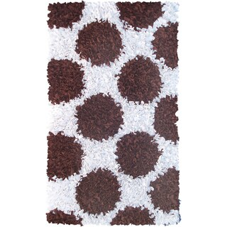 Manam Polkamania Brown and White Shag Rug (3' x 5')