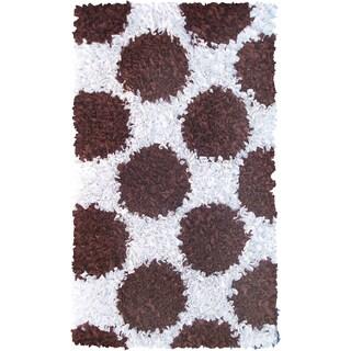 Manam Polkamania Brown and White Shag Rug (3' x 5')