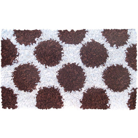 Manam Polkamania Brown and White Shag Rug (5' x 8')