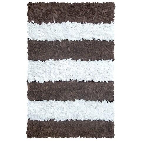 Manam Brown and White Stripe Shag Rug (3' x 5')