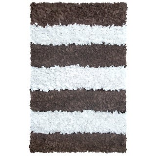 Manam Brown and White Stripe Shag Rug (3' x 5')