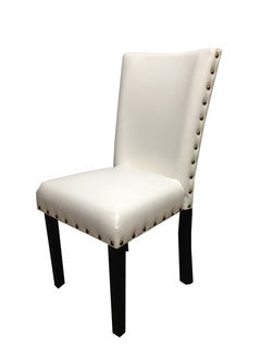 Creamy White Leatherette Parson Dining Chairs (Set of 2)