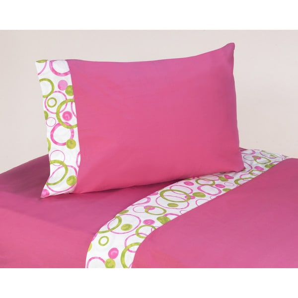 Sweet JoJo Hot Pink Mod Circles 200 Thread Count Cotton Sheet Set