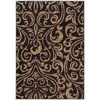 Indoor Black and Gold Transitional Botanical Area Rug - 10' x 13'