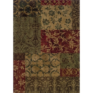 Indoor Green/ Red Floral Area Rug (9'10 x 12'9)