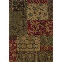 "Indoor Green/ Red Floral Area Rug (9'10 x 12'9) - 9'10"" x 12'9"""