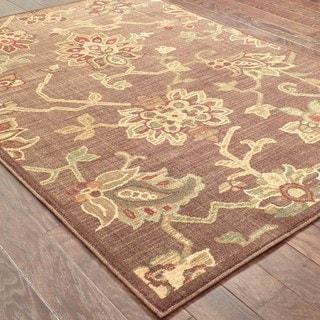 Indoor Brown/ Green Floral Area Rug (9'10 x 12'9)