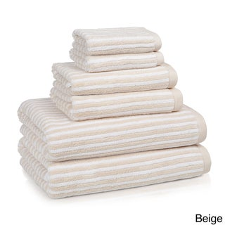 Luxury Turkish 650 GSM Cotton Striped Collection 6-piece Towel Set