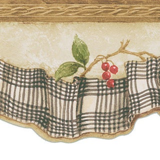 Charcoal Berry & Ribbon Border Wallpaper