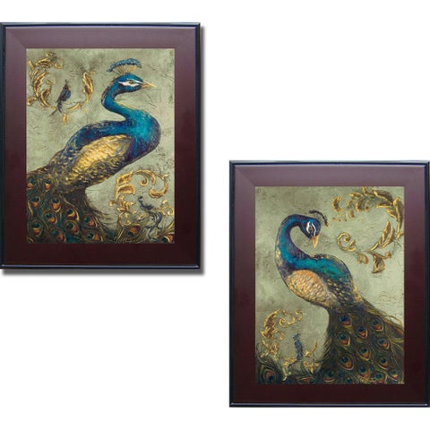Tiffany Hakimpour 'Peacock on Sage I and II' Framed 2-piece Canvas Art Set