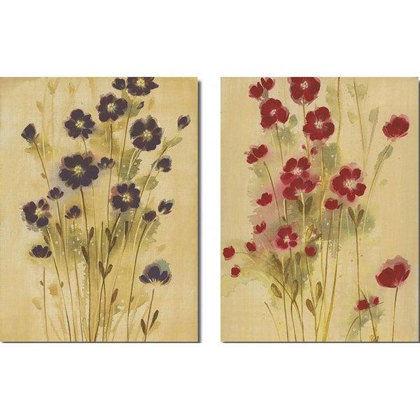 Maria 'Aubergine and Crimson Elegance' 2-piece Canvas Art Set