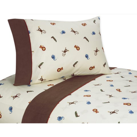 Sweet JoJo Designs Jungle Time Bedding Collection Cotton Sheet Set