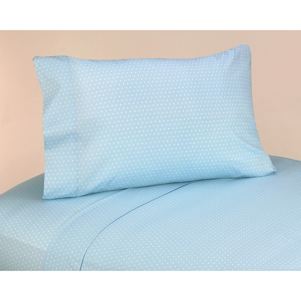 Sweet JoJo Designs 200 Thread Count Mod Dots Bedding Collection Blue Cotton Sheet Set