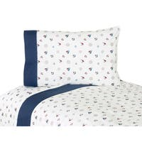 Sweet JoJo Designs 200 Thread Count Nautical Nights Sailboat Bedding Collection Cotton Sheet Set