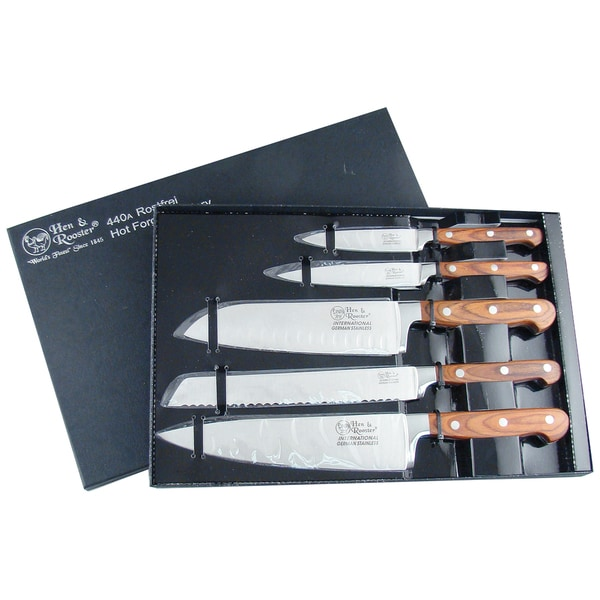 Hen & Rooster 5-piece Kitchen Set with Acrylic Block