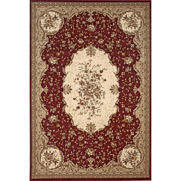 Machine Made Red Savonnerie Rug (2'7 x 7'10)