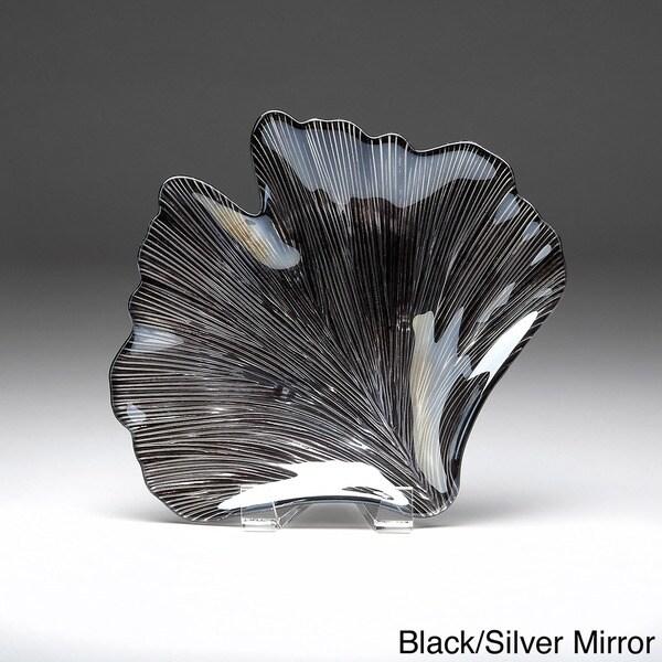 Hand-gilded Gingko Leaf Glass Platter