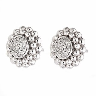 Beverly Hills Charm Sterling Silver 1/4ct TDW Diamond Beaded Frame Stud Earrings