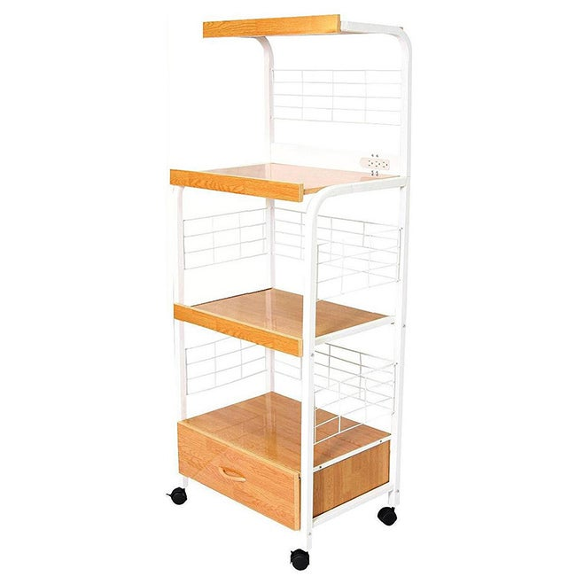 ORE International White 3-tier Microwave Cart