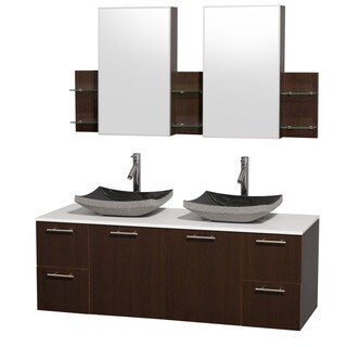 Wyndham Collection 'Amare' 60-inch Espresso/ White Top/ Black Sink Vanity Set