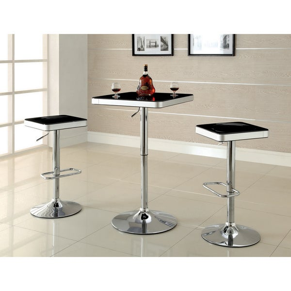 Furniture of America 'Jetson' Square Adjustable Swivel Black-top Bar Stools (Set of 2)
