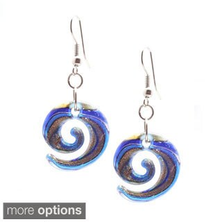 Bleek2Sheek Italian Murano-style Glass Lollipop Curl Dangle Earrings