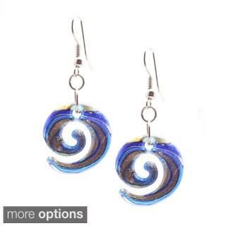 Bleek2Sheek Italian Murano-style Glass Lollipop Curl Dangle Earrings