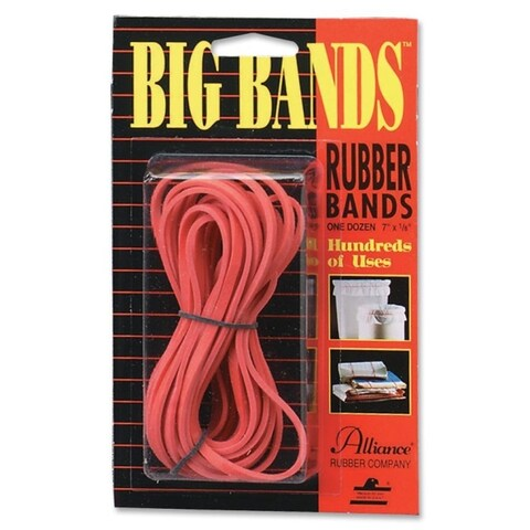 Alliance Big Bands Red 7-inch Rubber Bands (Pack of 12)