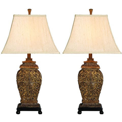 Casa Cortes Frech Scrolls 3-Way 30-inch Table Lamp (Set of 2)