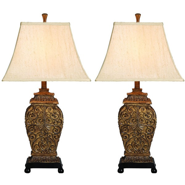 Casa Cortes Frech Scrolls 3 Way 30 Inch Table Lamp Set Of