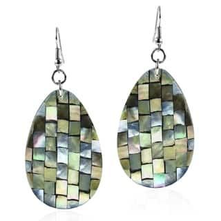 Mosaic Harmony Abalone Teardrop Handmade Earrings (Philippines) - green|https://ak1.ostkcdn.com/images/products/7844091/P15231535.jpg?impolicy=medium