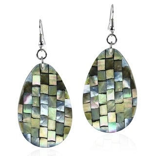Handmade Mosaic Harmony Abalone Teardrop Earrings - Green (Philippines)
