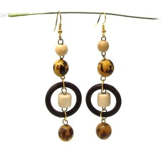 Earthly Origins Native Wood and Brass Handmade Earrings (Philippines)