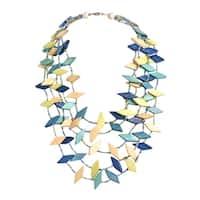 Handmade Dancing Diamonds Shape Resin Coco Palm Wood Necklace