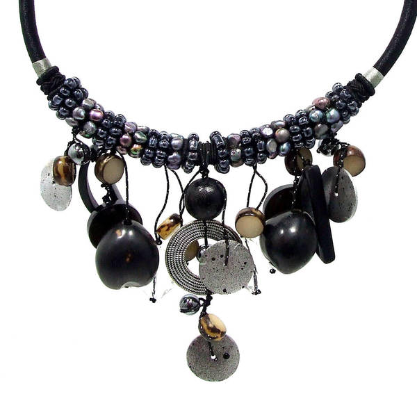 Handmade Moon Droplets Mixed Stone Pearl Beaded Necklace (Philippines)