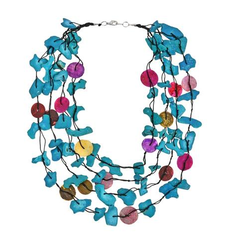 Handmade Colorful Strands Coco Palm Wood and Shell Necklace