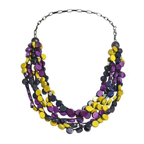 Handmade Tropical Cascades Coco Palm Wood Collar Necklace (Philippines)