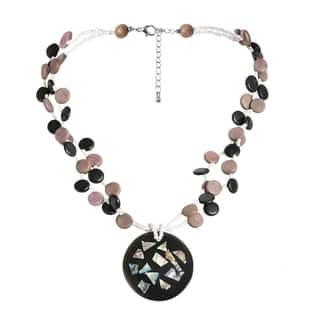 Abalone Collage Medallion Natural Wood Strands Necklace|https://ak1.ostkcdn.com/images/products/7844109/P15231542.jpg?impolicy=medium